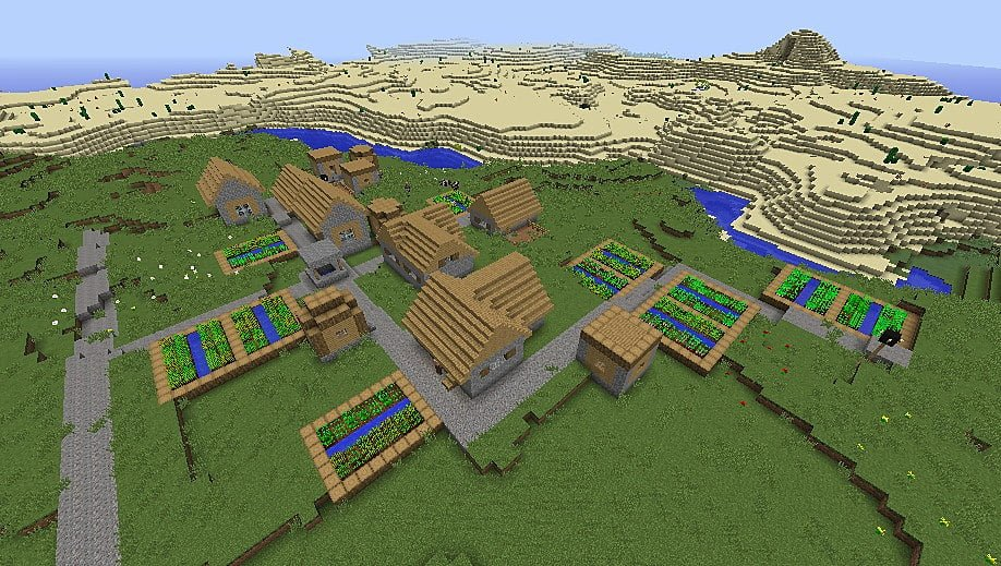 minecraft seeds villages desert temples
